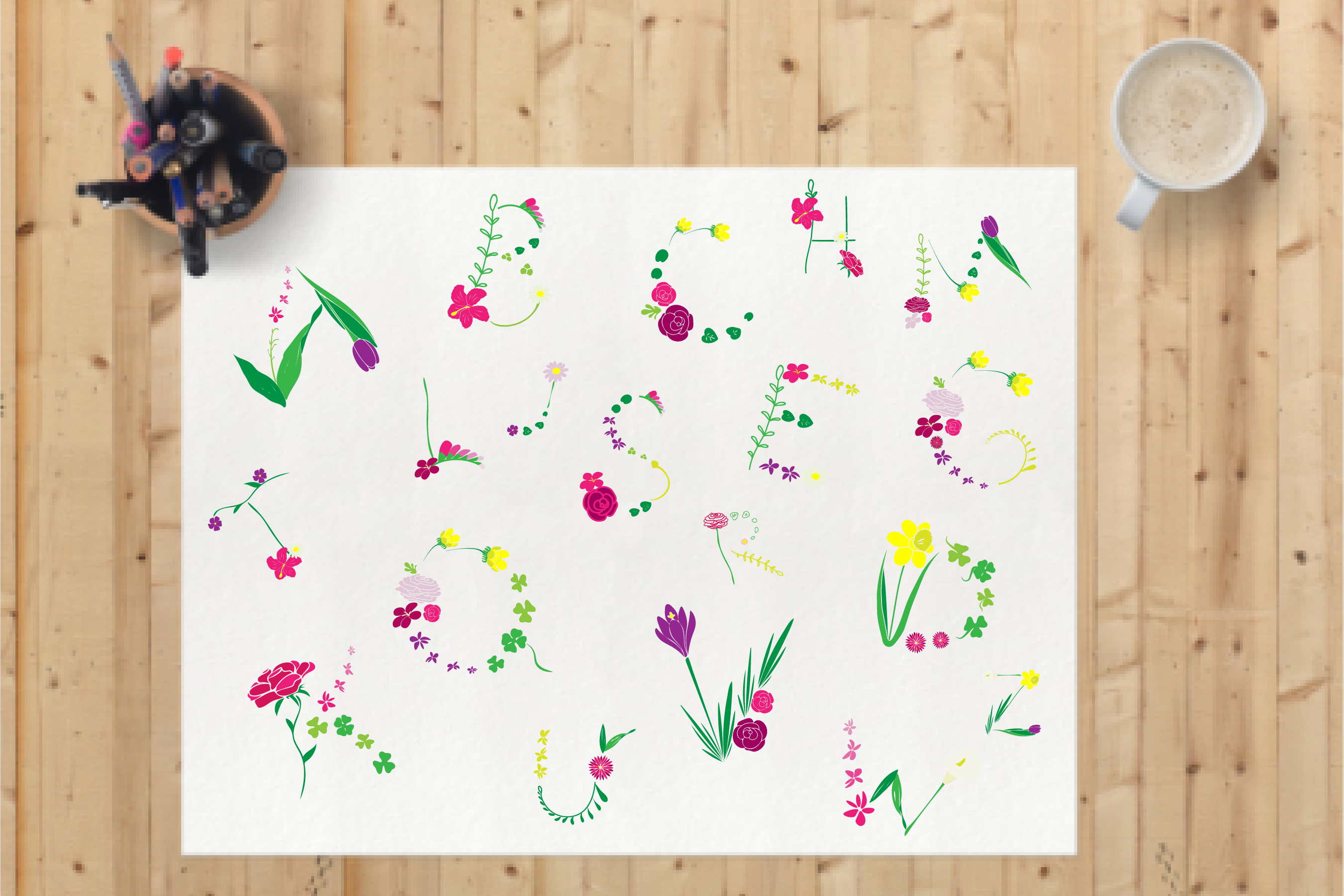 Monogram FLORAL ALPHABET- Spring/Flowers/ Easter/ Mother's d example image 3