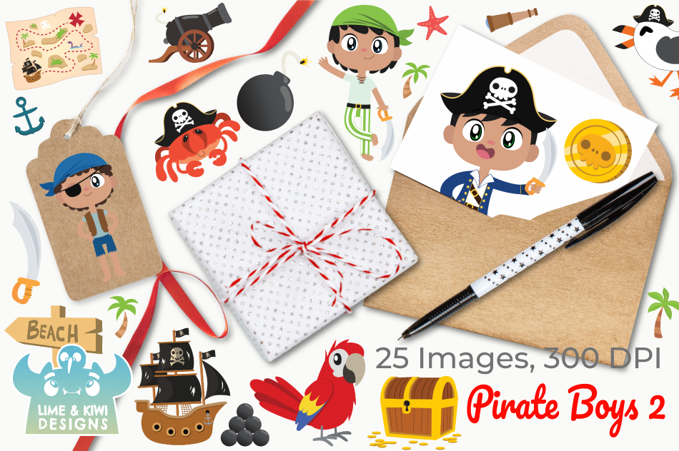 Pirate Boys 2 Clipart, Instant Download Vector Art example image 4