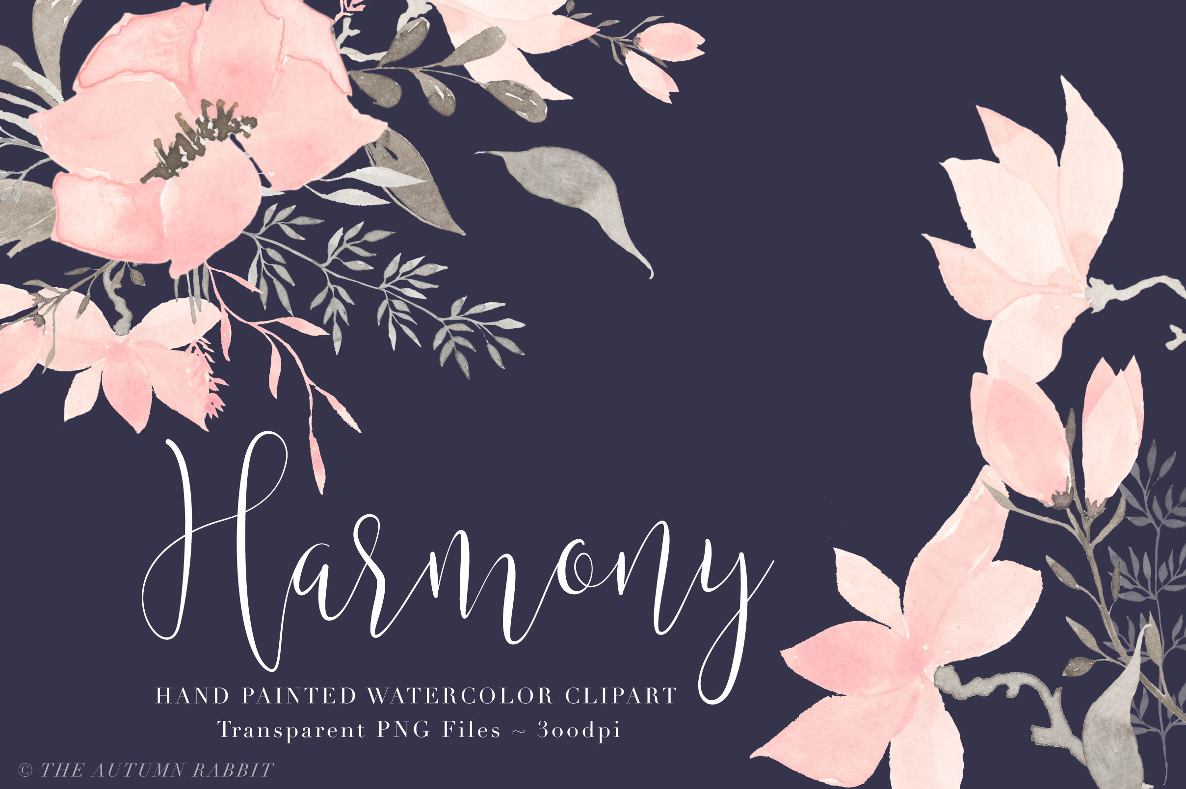 Watercolor Floral Clipart - Harmony example image 3