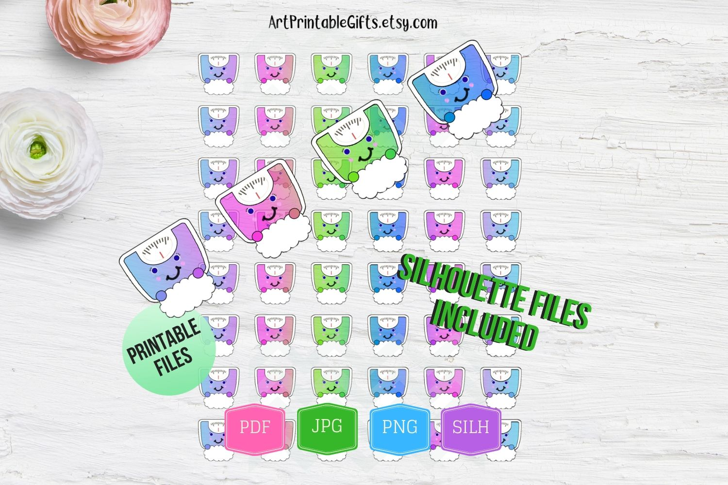 Weight Scale Printable Planner Stickers Scale stickers print example image 2