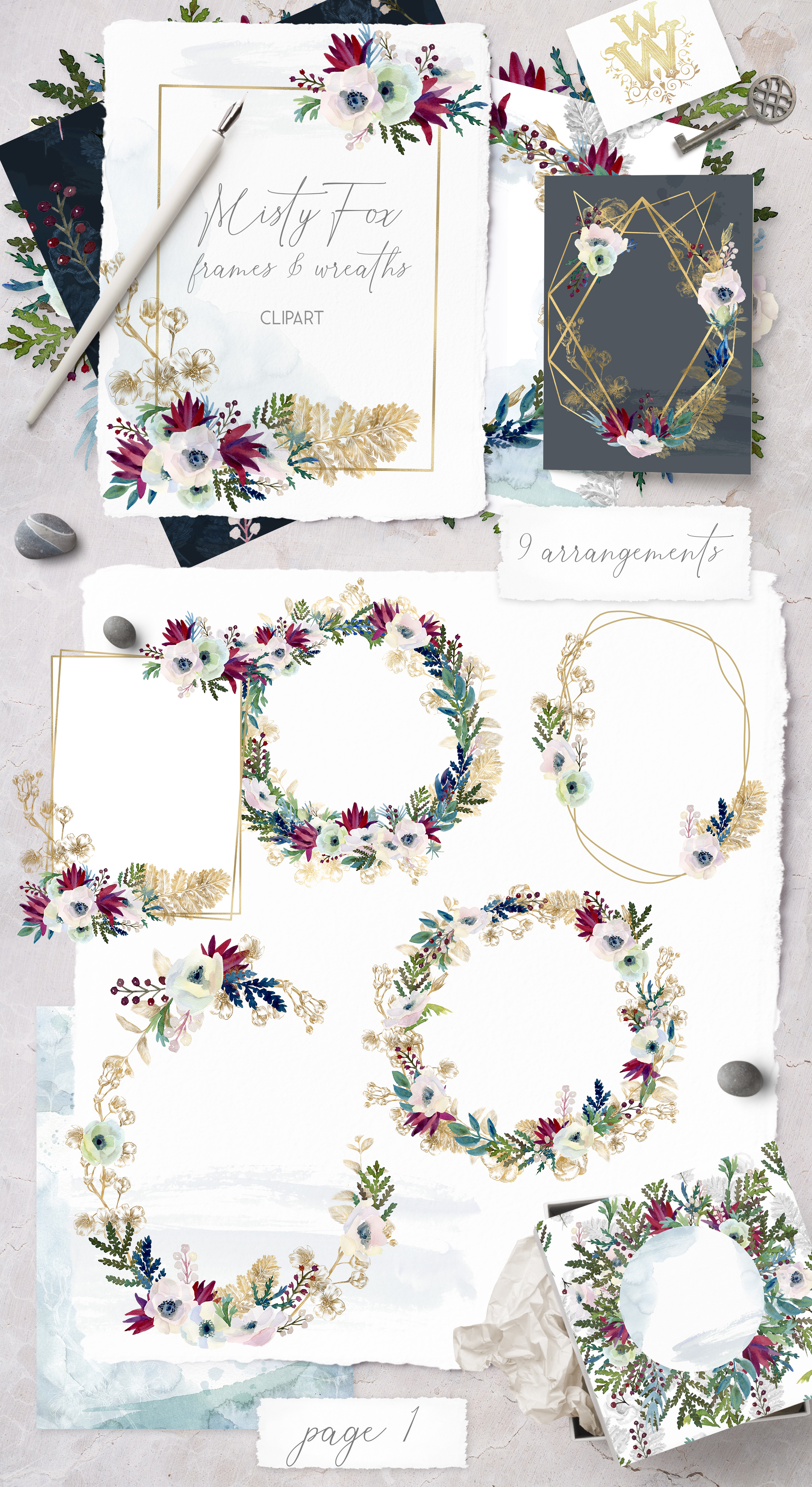 Watercolor white flowers frame, wedding wreath invitation example image 2