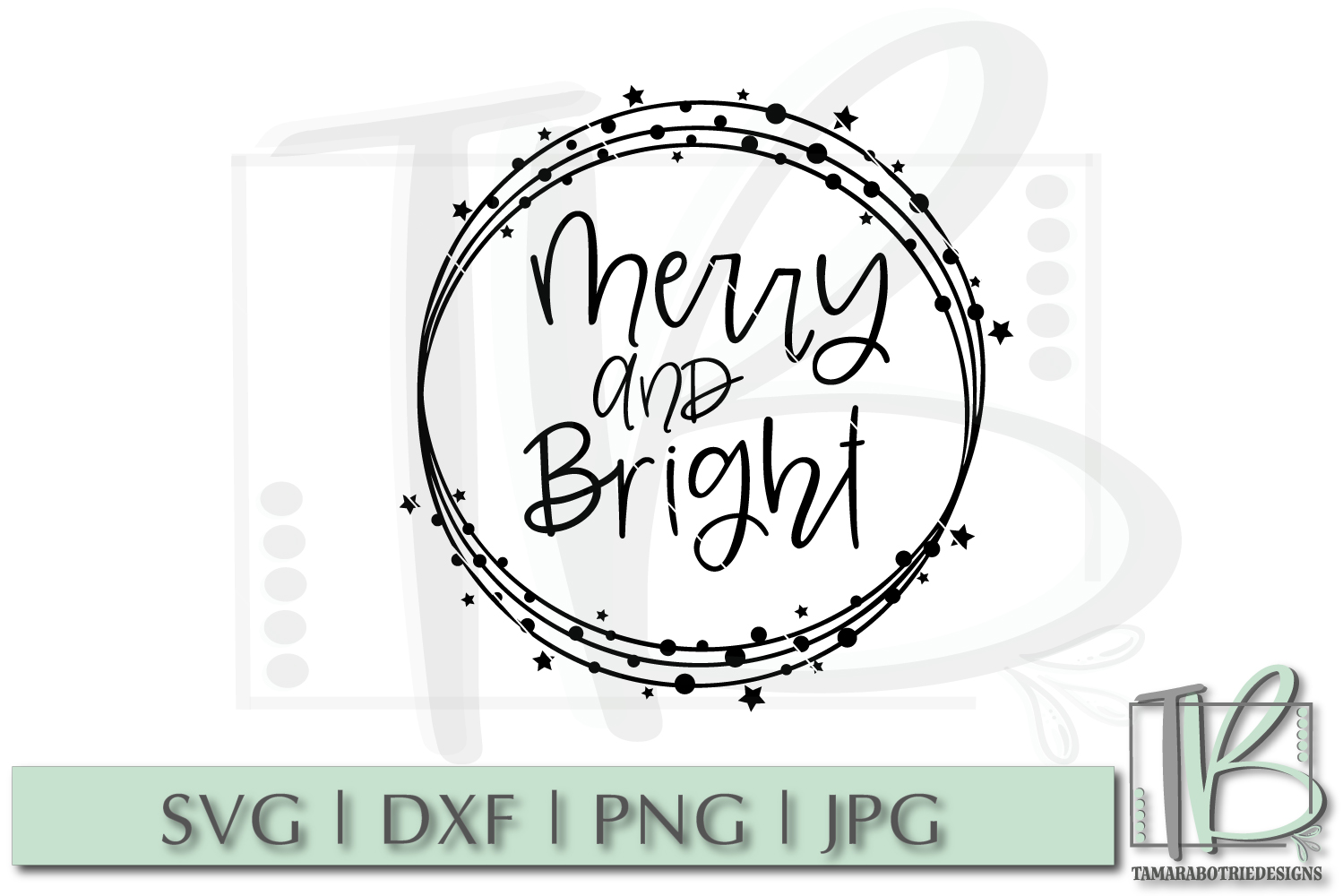 Merry and Bright SVG, Christmas Cut file example image 2