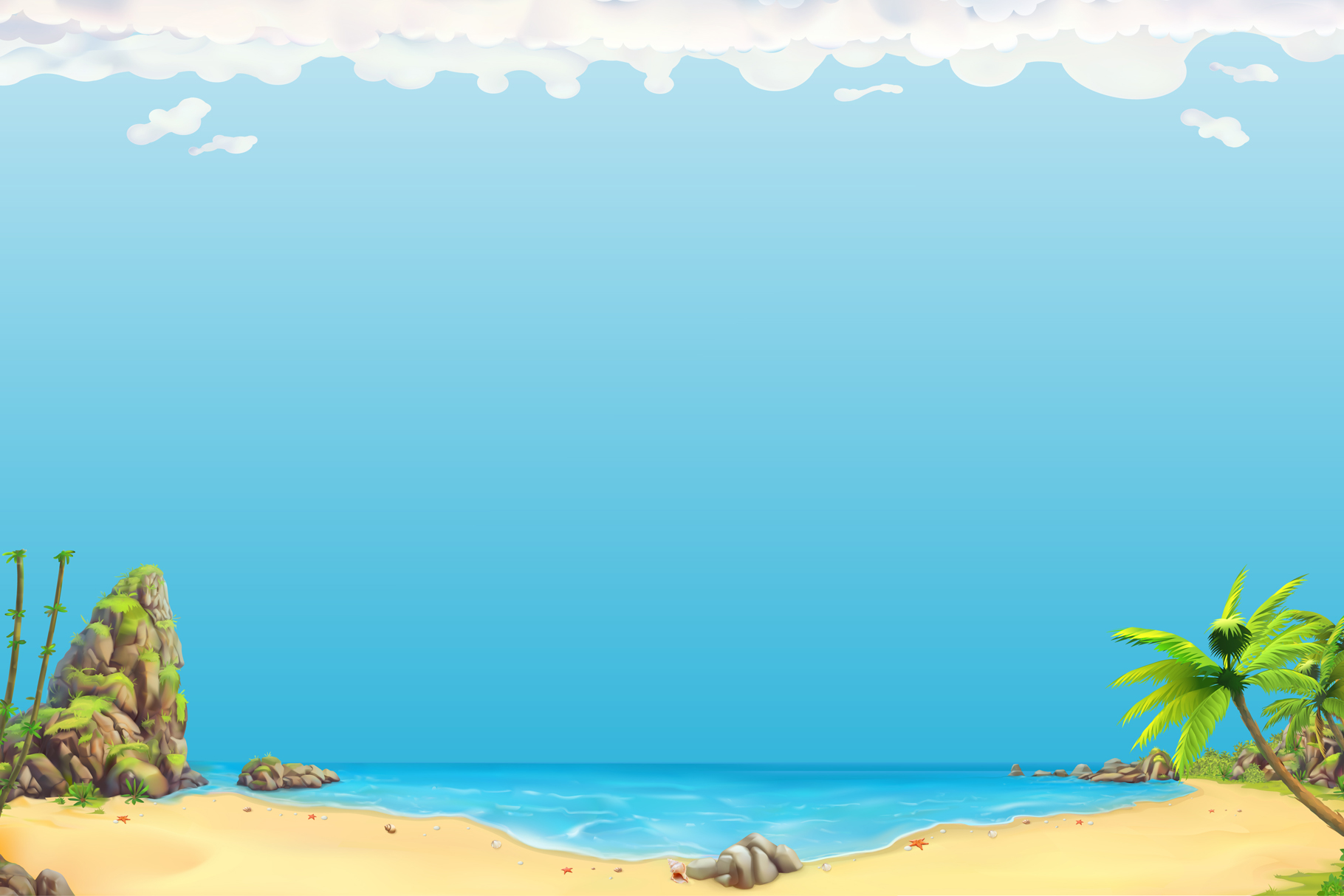 Cute little girl, sea animals, beach background, game icons example image 10