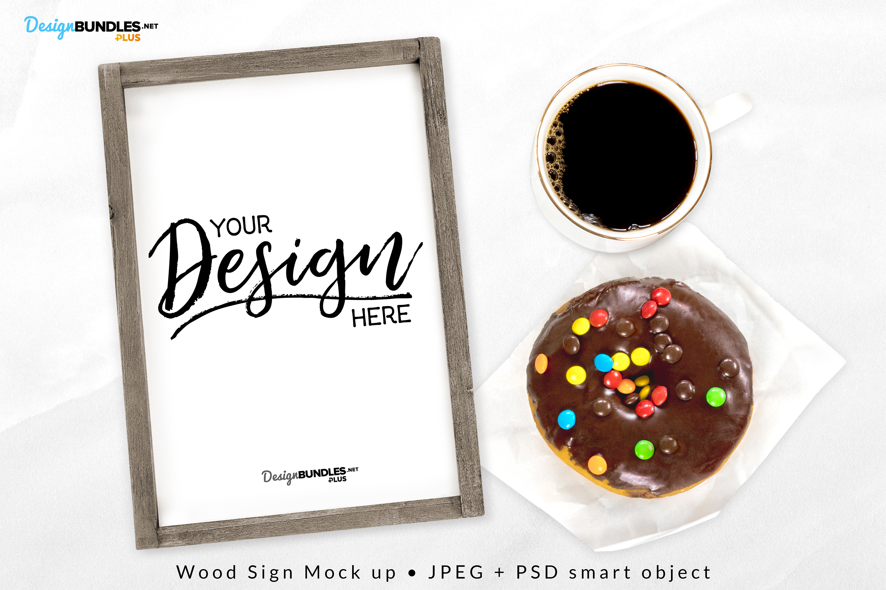 Wood Sign with Coffee & Donut - Craft Mock up example image 1