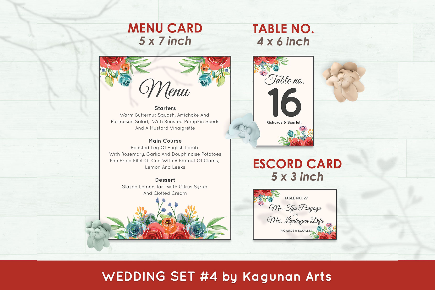 Wedding Invitation Set #4 Watercolor Floral Flower Style example image 6