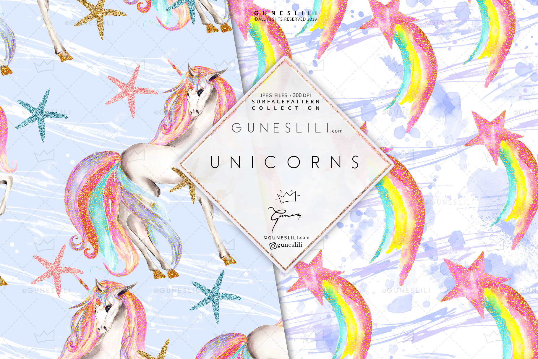 Pastel Unicorn Digital Pattern Pack Watercolor example image 3