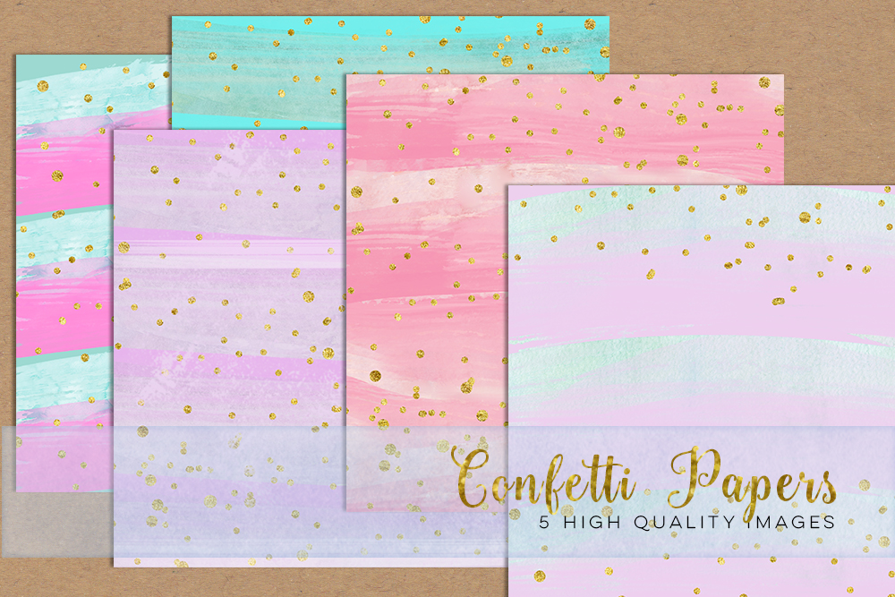 elements clip art, pastel rainbow download paper, painted watercolor paper, digital clipart watercolor instant download, aquarelle galaxie example image 1