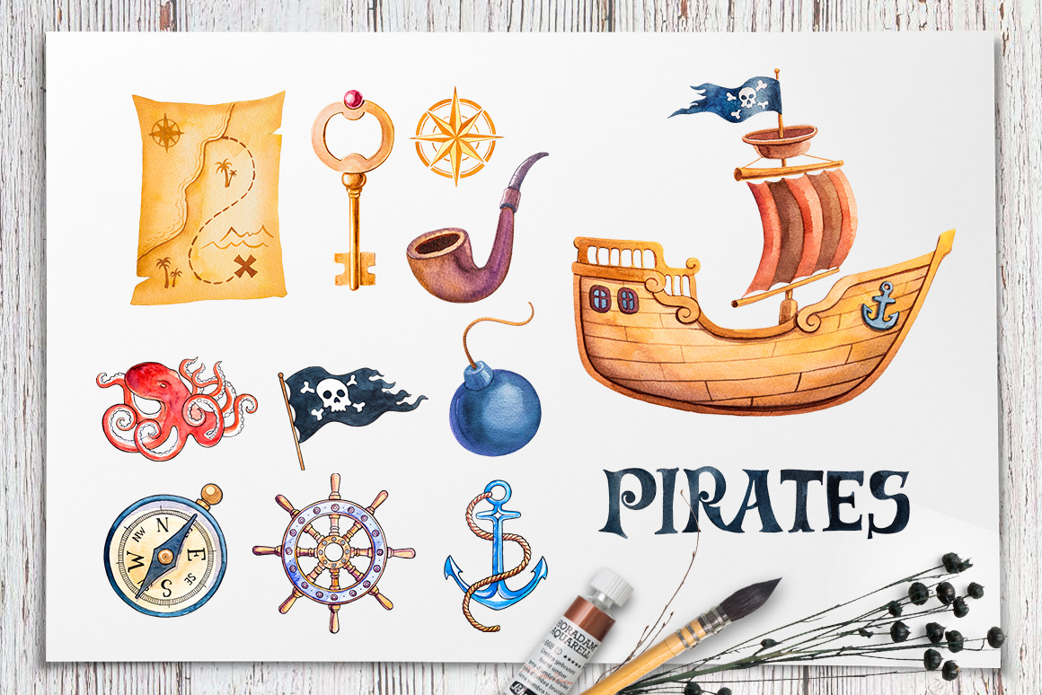 Pirates. Watercolor illustrations. example image 2