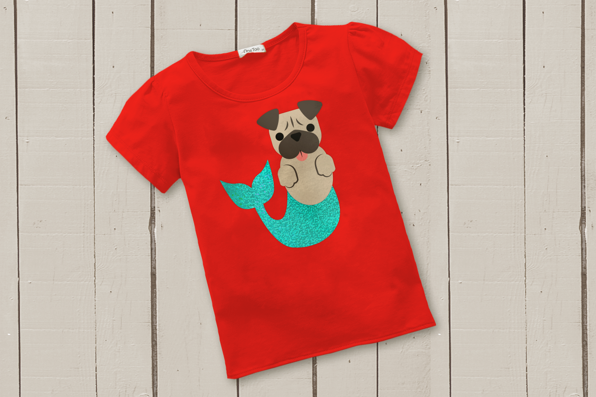 Mermaid Pug and Pug Face SVG Design example image 1