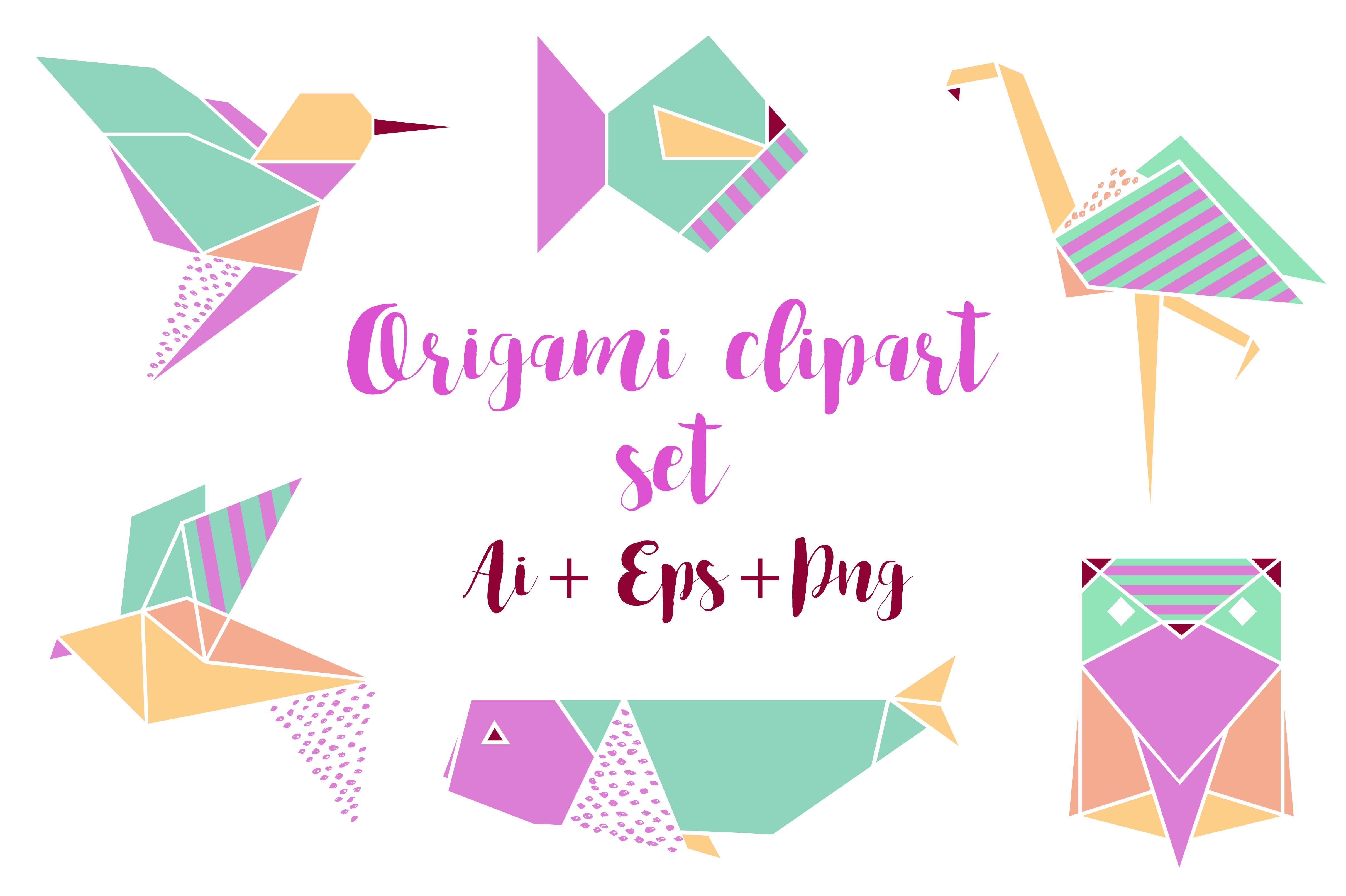 Origami Clipart Set - Png+Ai+Eps example image 1