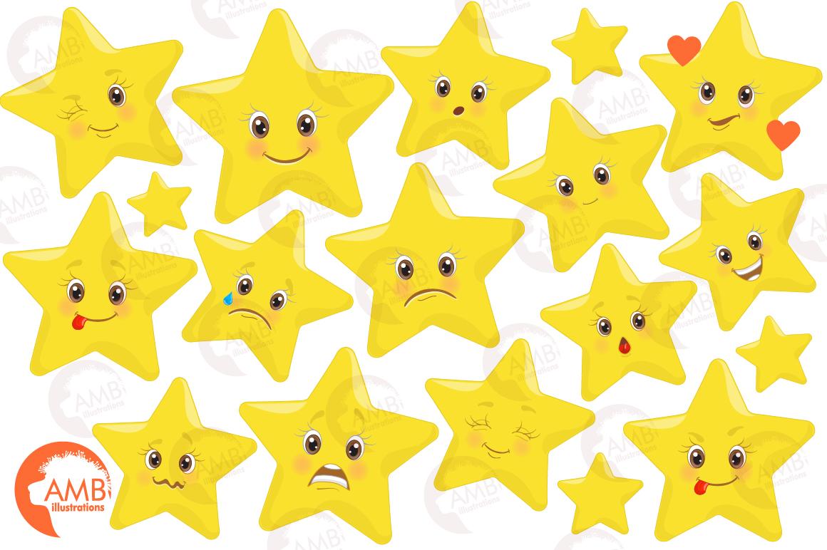Emoji faces, Emoticons, Star faces, Star emoji clipart, graphics  illustrations AMB-1157