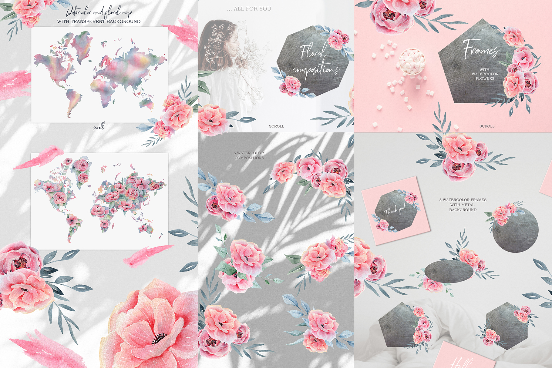 Watercolor Floral map, Spring pink flowers clipart, peony example image 5