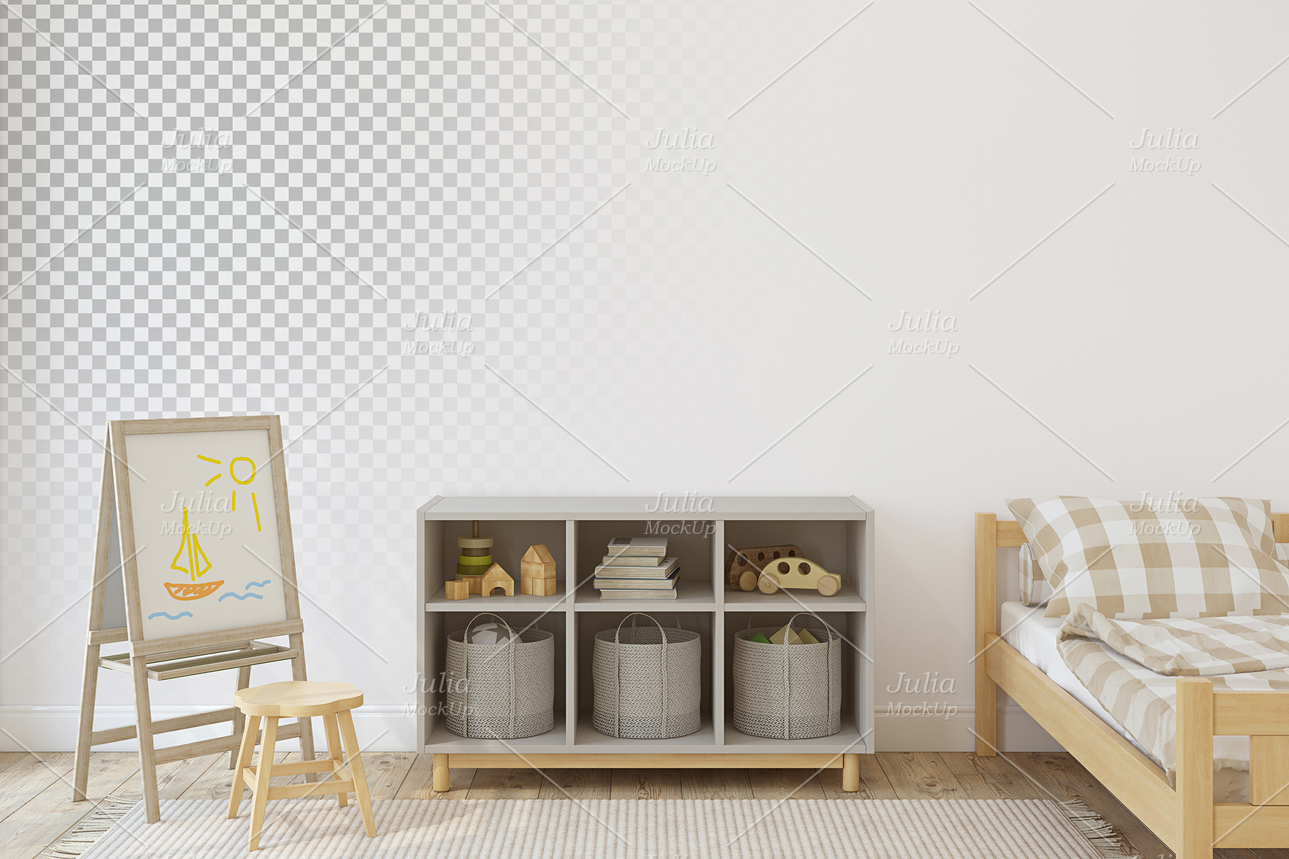 Toddler room. Wall&Frames Mockup. example image 4