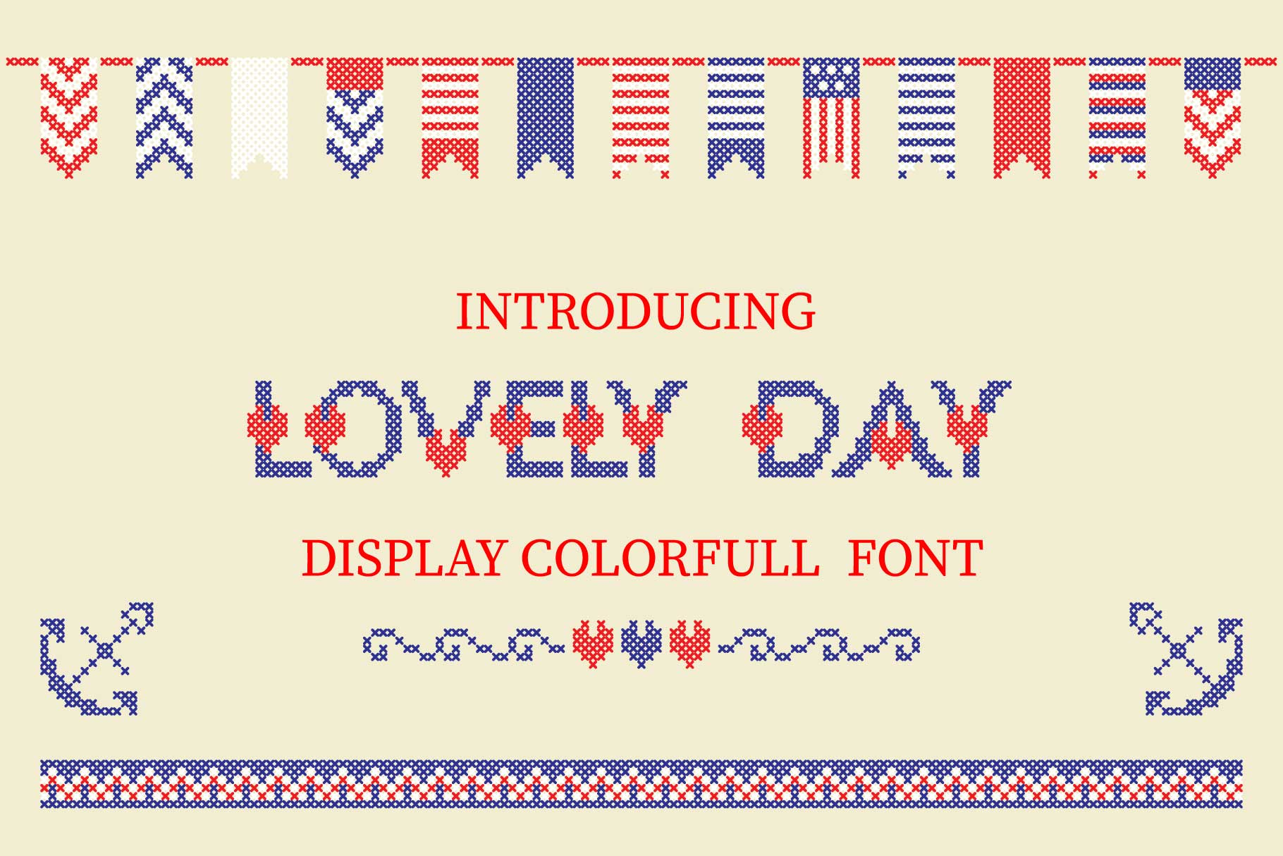 LOVELY-DAY-COLOR-CROSSSTICH OTF-SVG  multicolor font example image 1