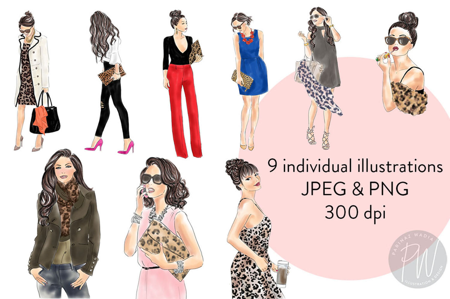Animal print girls Watercolour fashion clipart example image 3