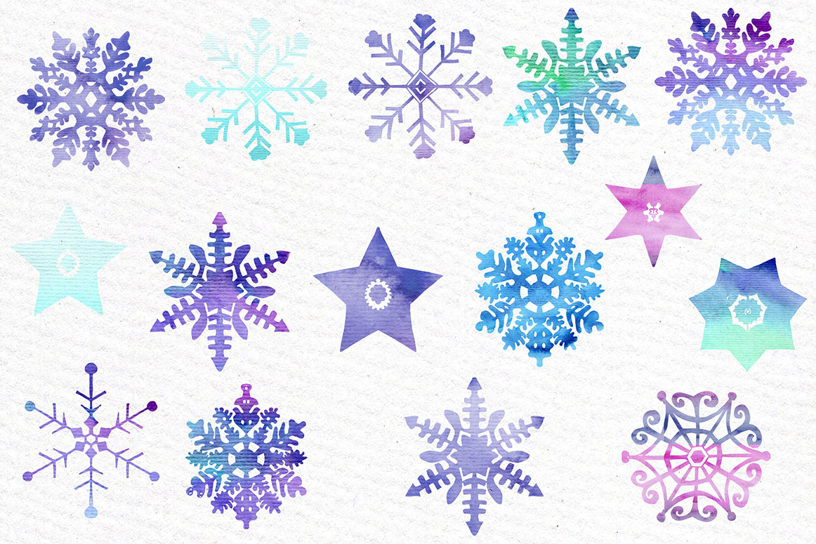Watercolor snowflake clipart example image 3