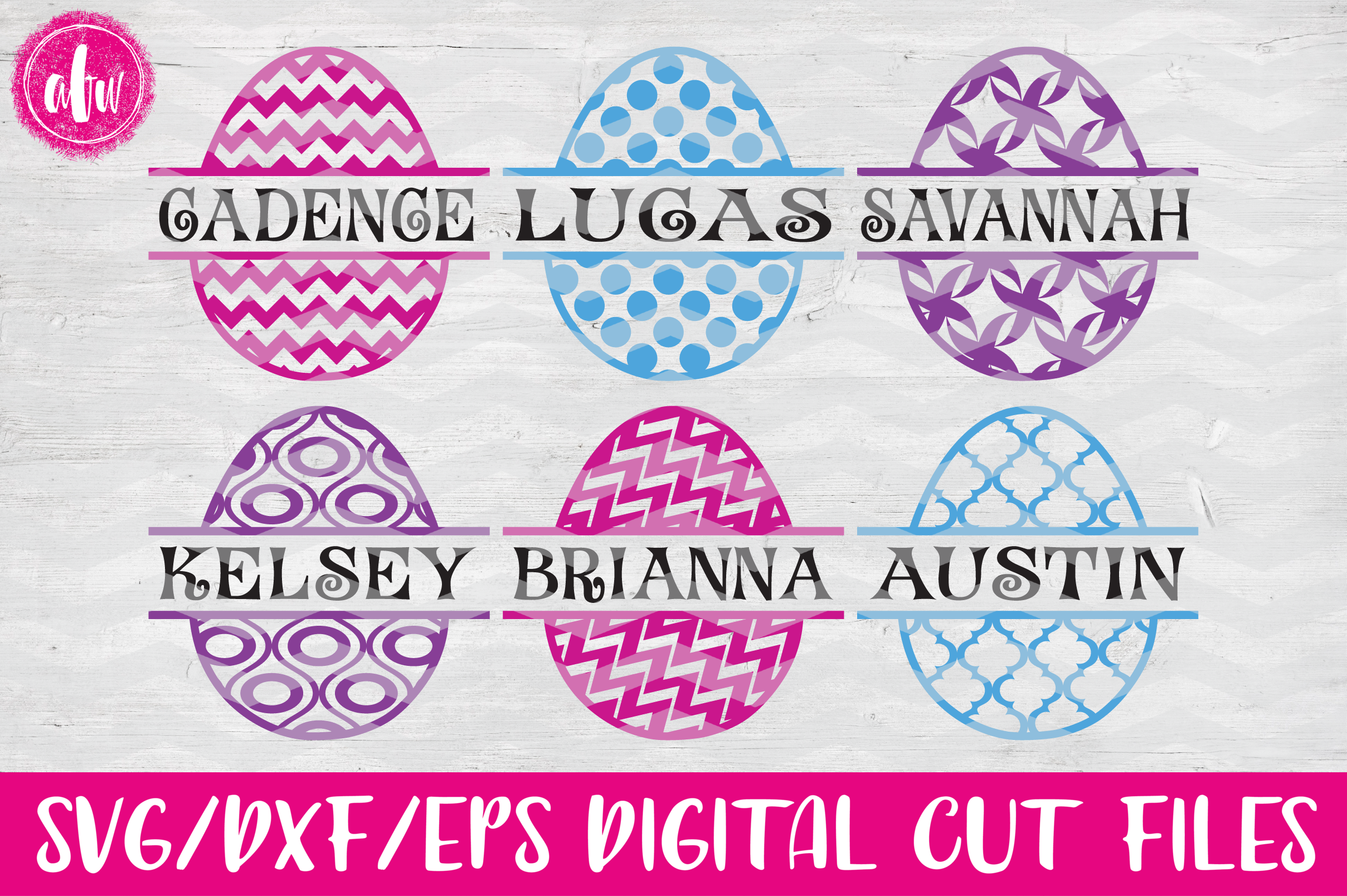 Split Pattern Easter Eggs Set - SVG, DXF, EPS Cut Files example image 1