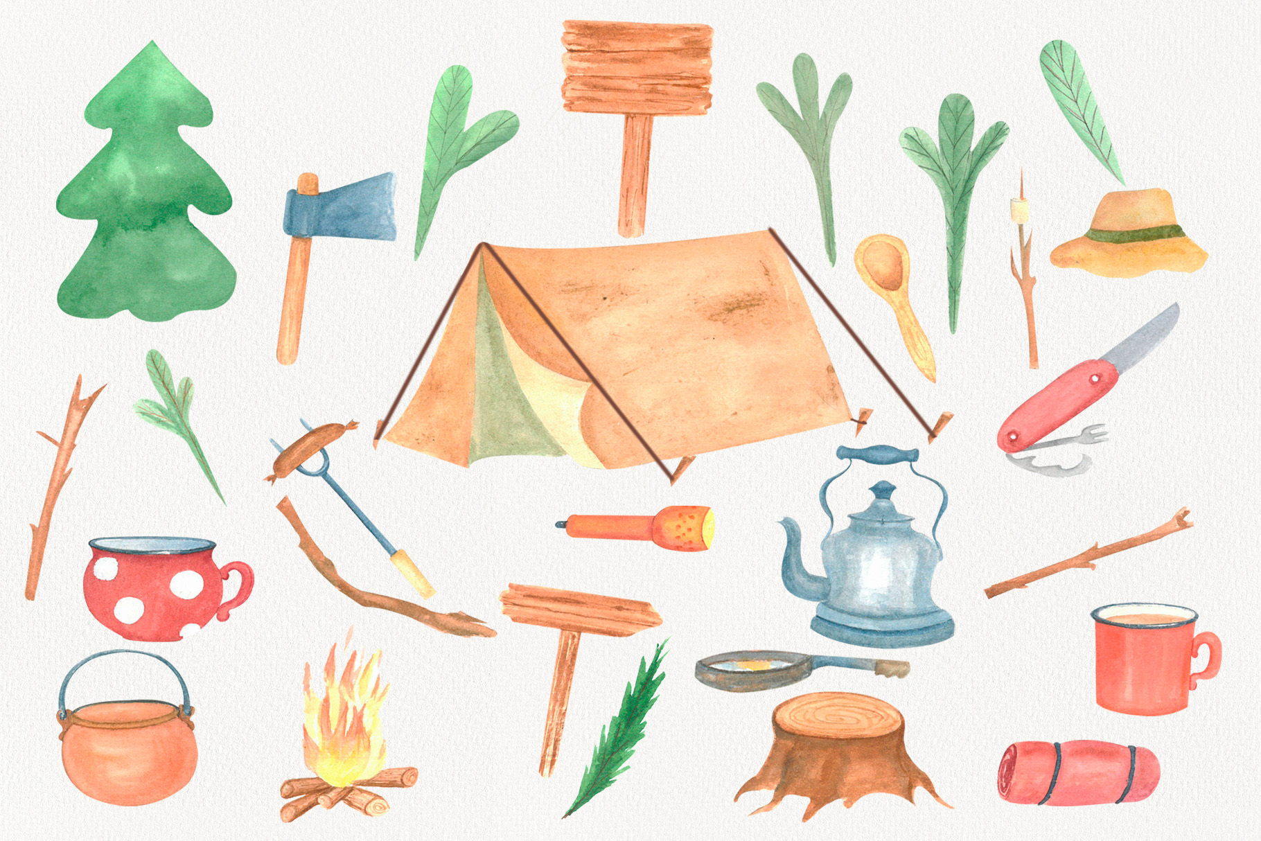 Camping Clipart watercolor example image 2