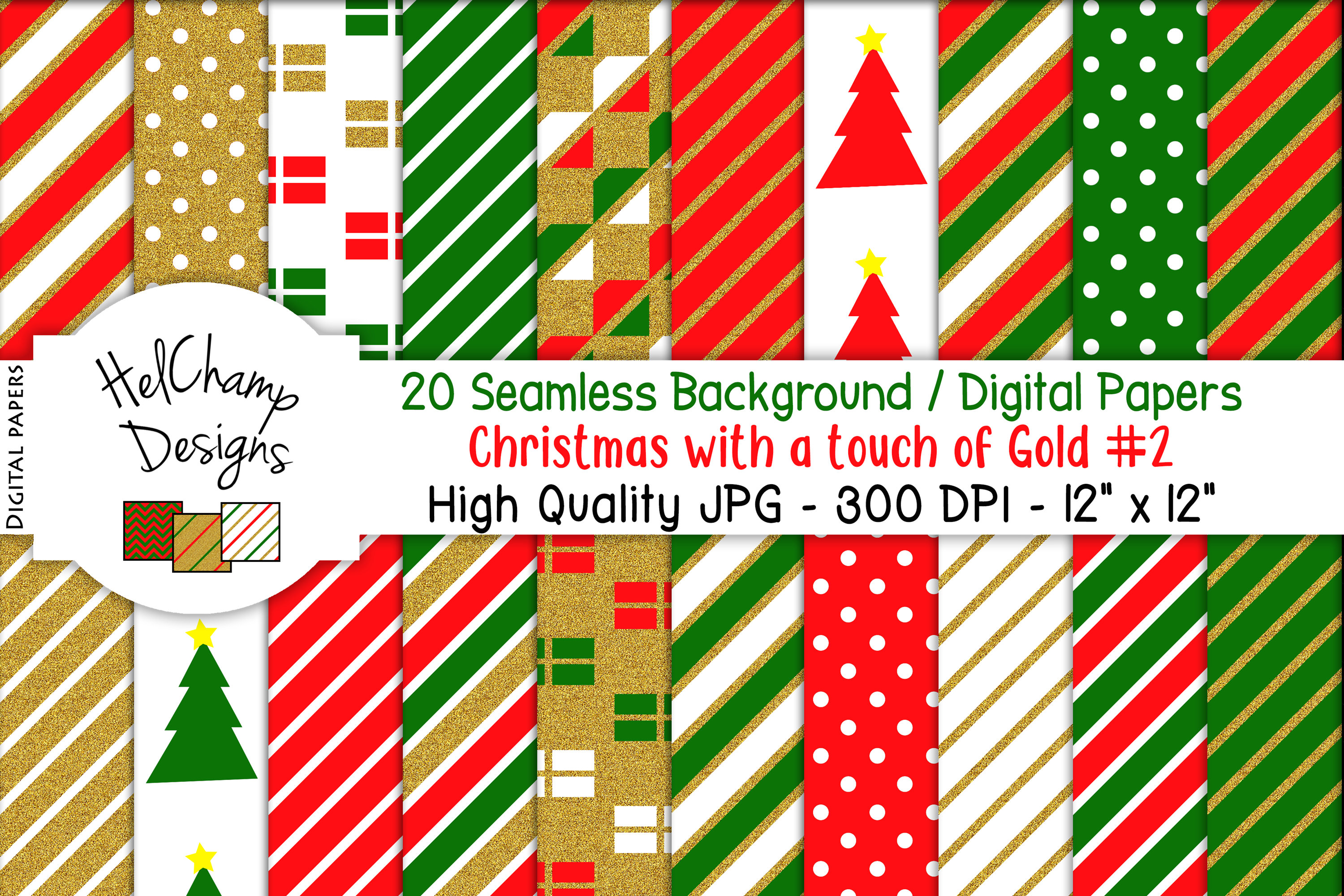 20 seamless Digital Papers - Christmas with Gold - HC007 example image 1