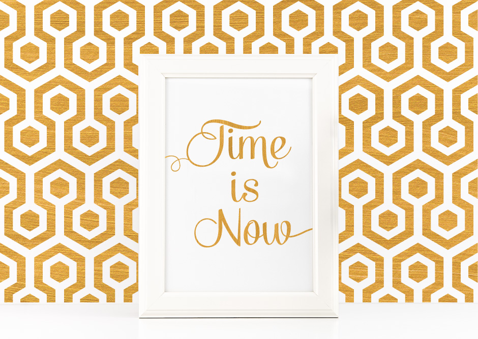 Time is Now Poster to Print Inspirational Quote + SVG files example image 1