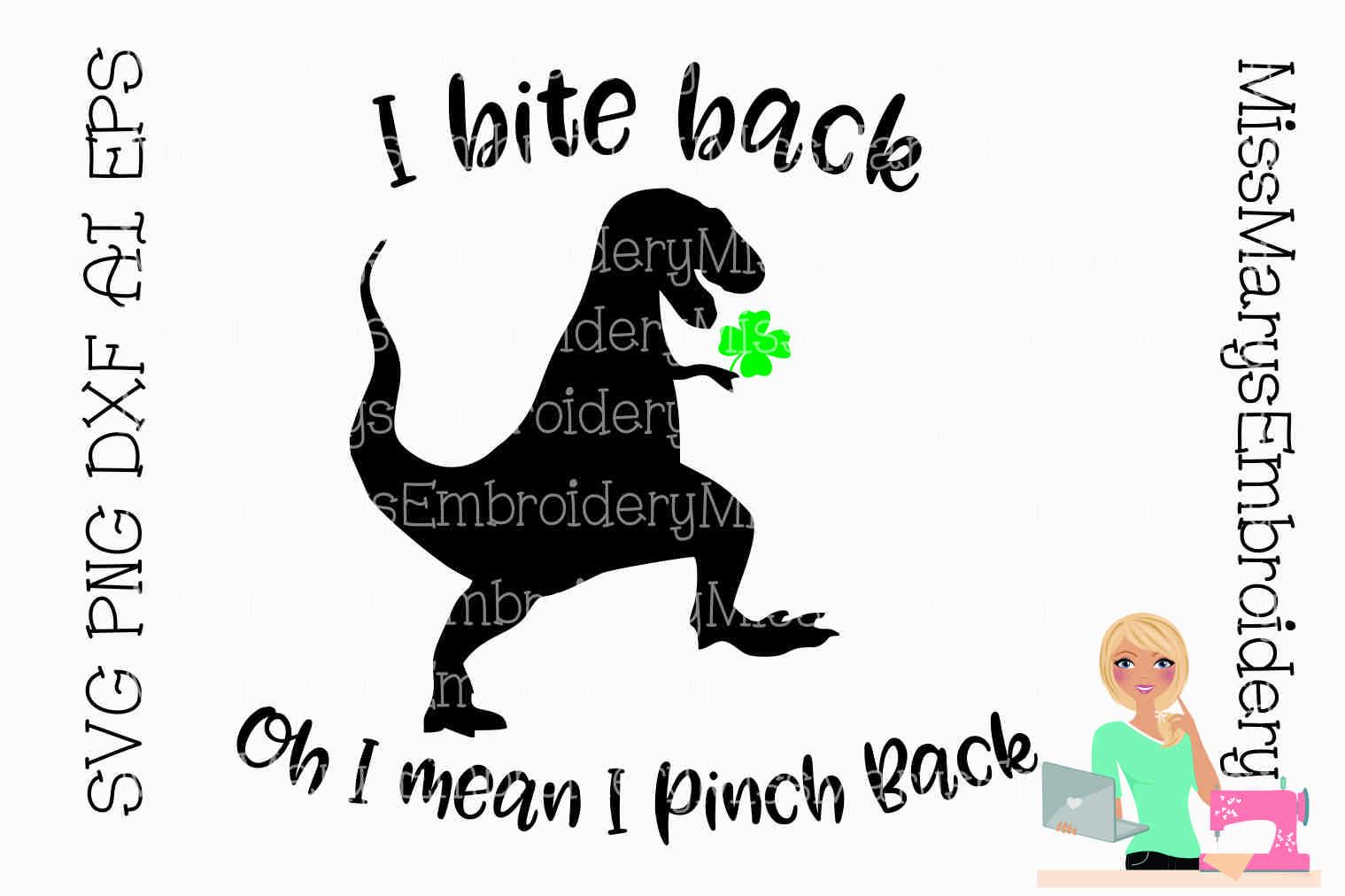I Bite Back Irish T-Rex SVG Cutting File PNG DXF AI EPS example image 1