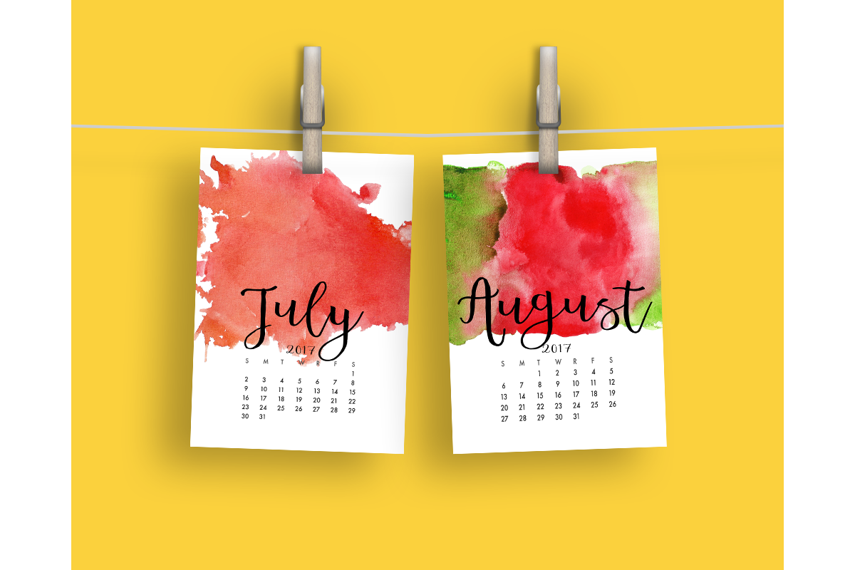 2017 Hand Paint Watercolor Calendar  example image 5