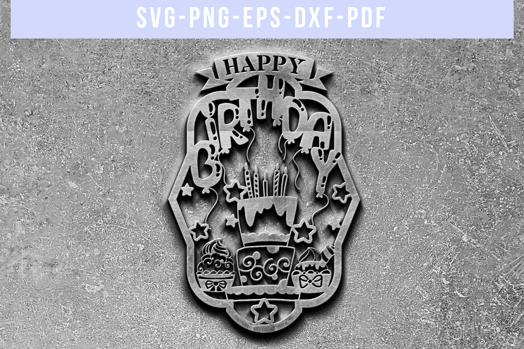 Happy Birthday Papercut Template, Diy Birthday Card SVG, PDF example image 5