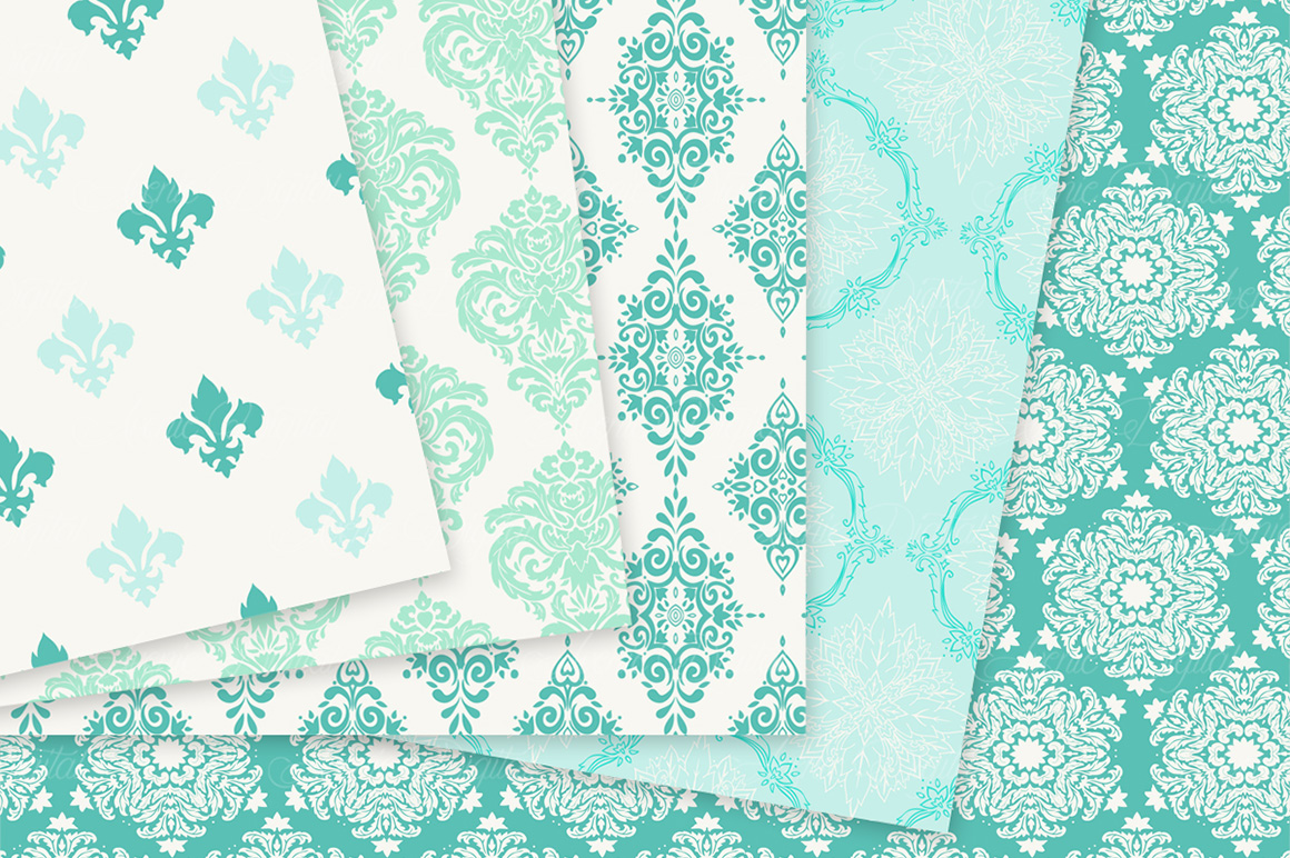 28 Mint Damask Patterns - Wedding Seamless Digital Papers Bundle example image 11