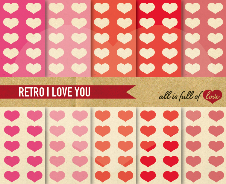 Pink Valentines Digital Paper Vintage Hearts Background example image 1