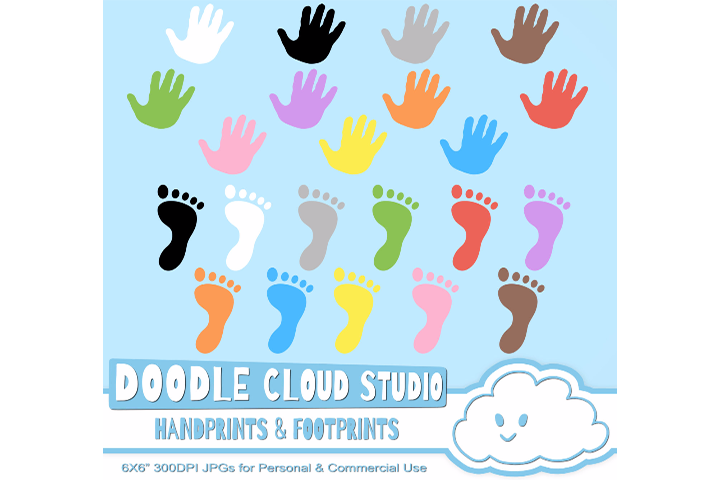 Colorful FootPrints & Handprints Cliparts, Hands Foot prints , Transparent / White Backgrounds Instant Download Personal and Commercial Use example image 1
