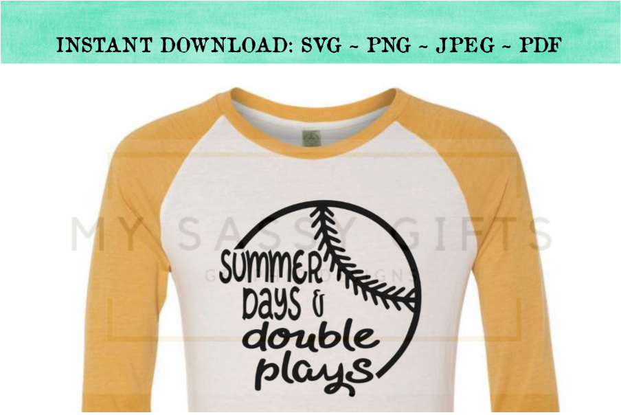 c95c38cc41f Summer Days And Double Plays Baseball SVG example image 3