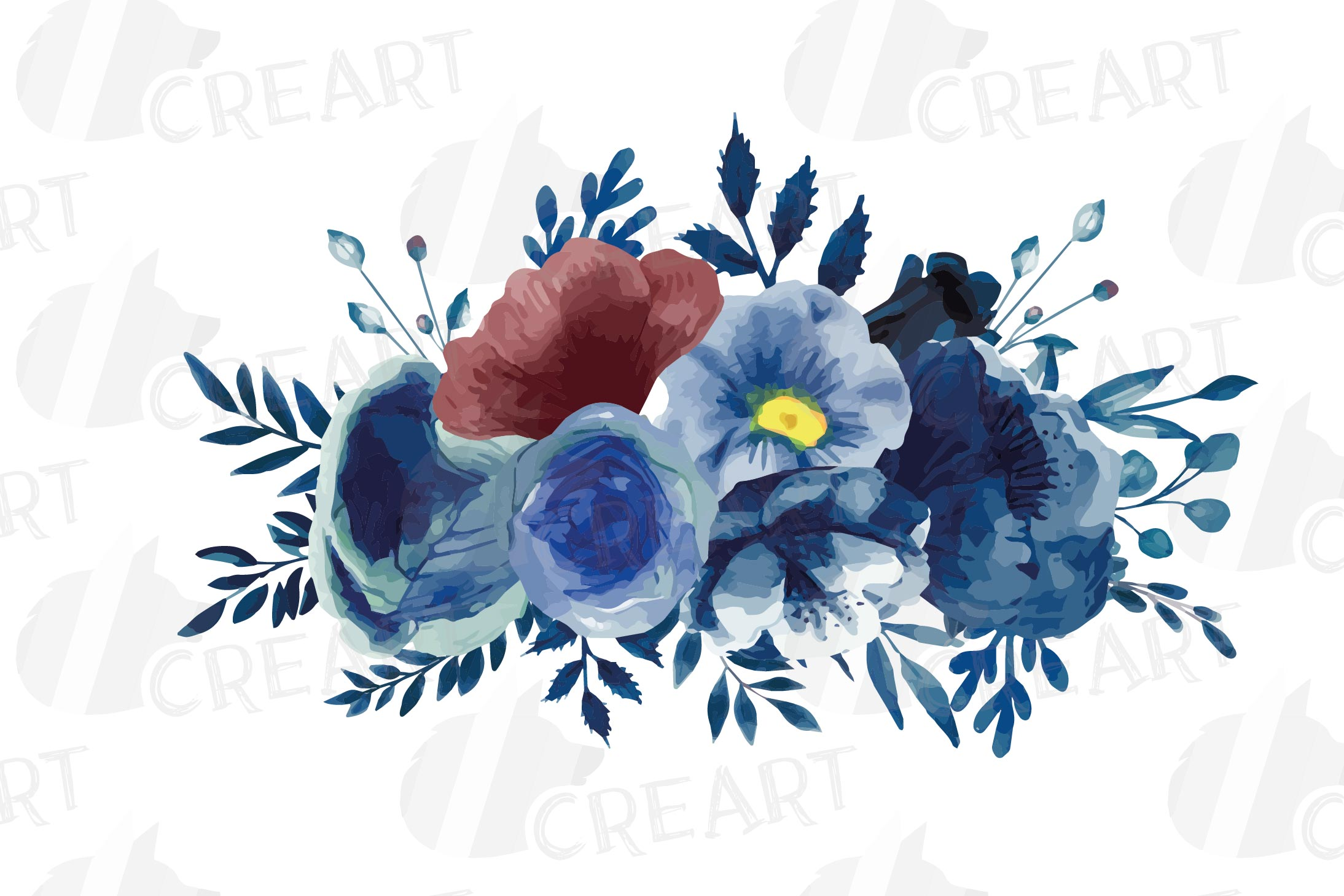 Navy blue and blush pink floral watercolor bouquets clip art example image 13