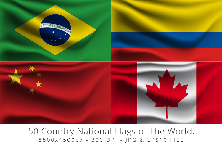 Realistic waving 50 Country National Flags of The World. example image 3
