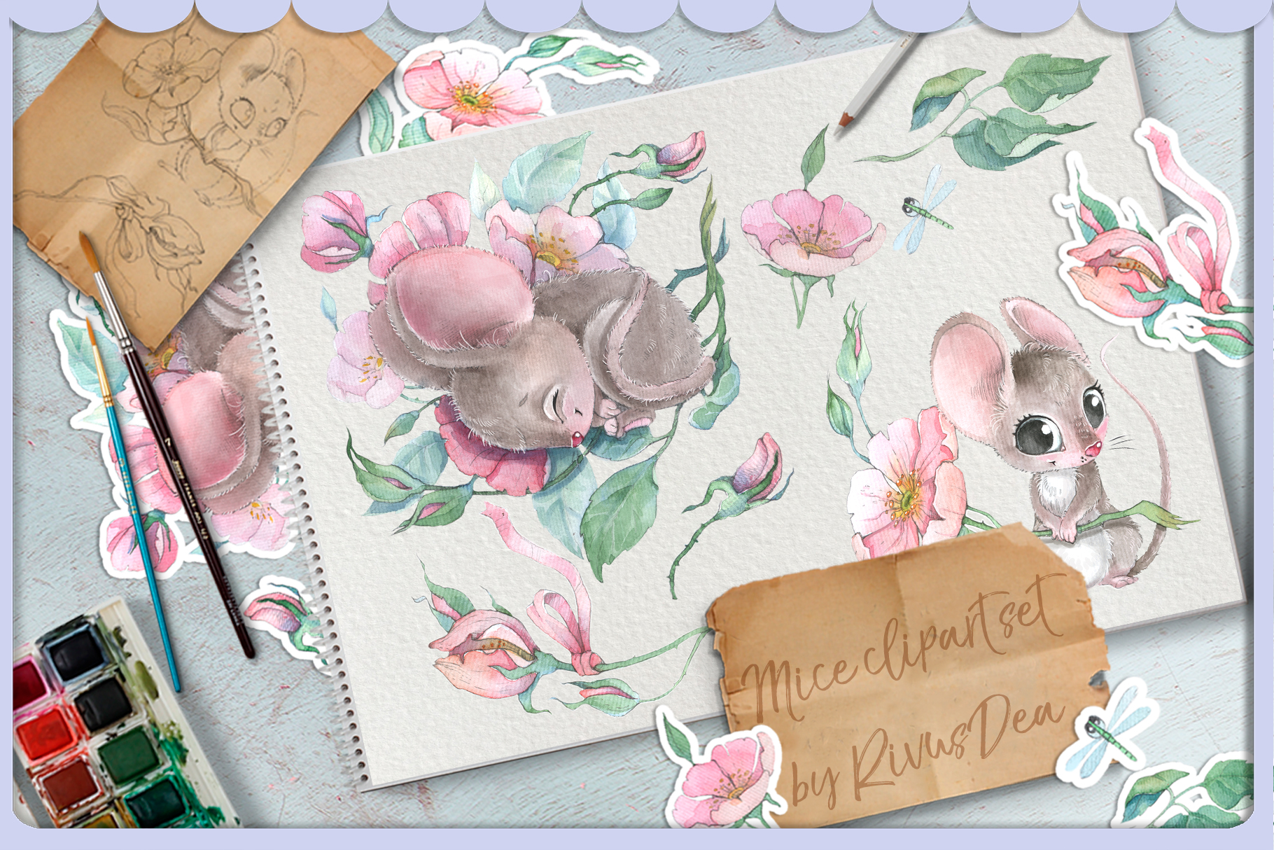 Watercolor mouse and wild roses digital clipart set baby ani example image 1