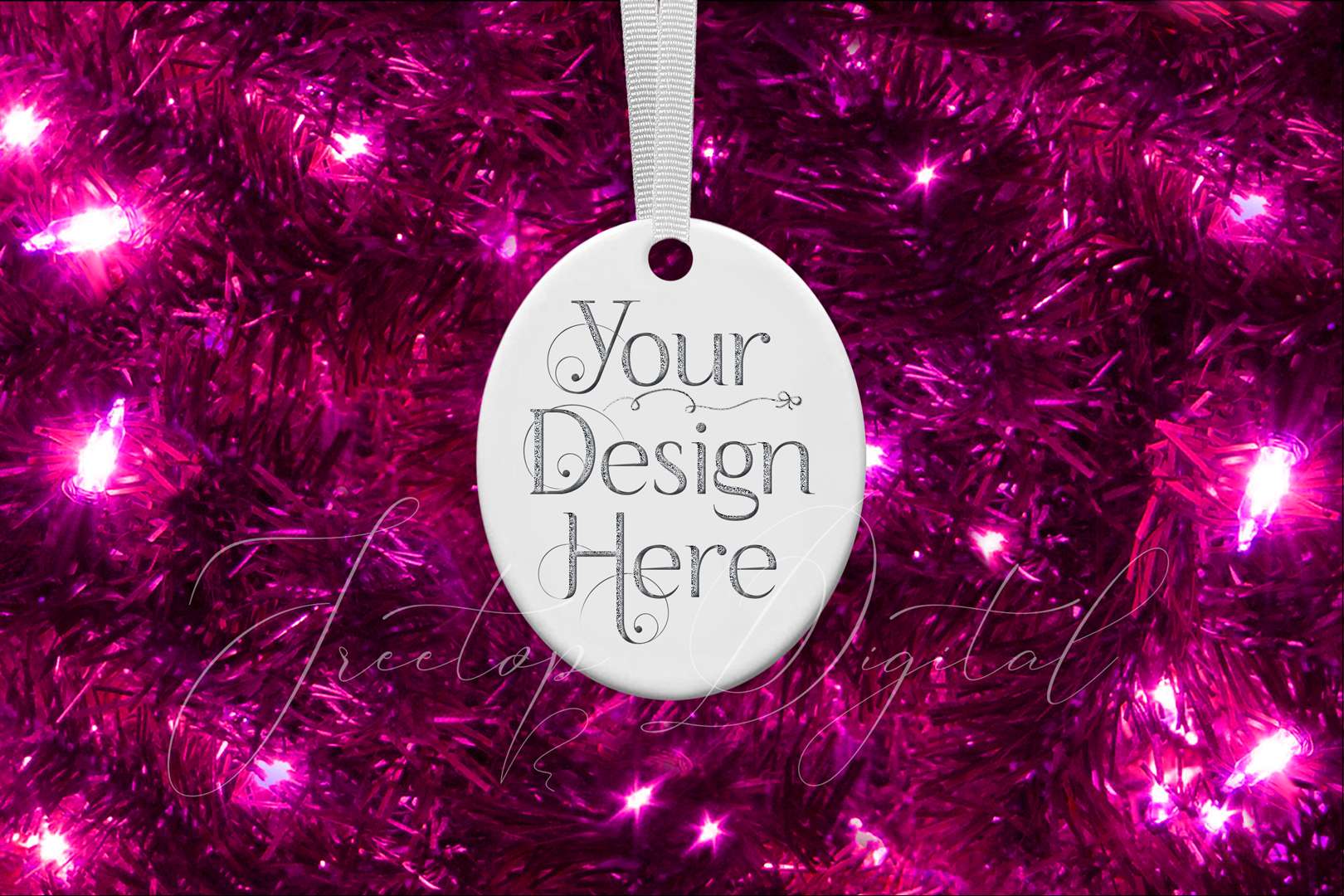 Oval Christmas Ornament Mockup, Sublimation Mock-Up, PSD example image 7