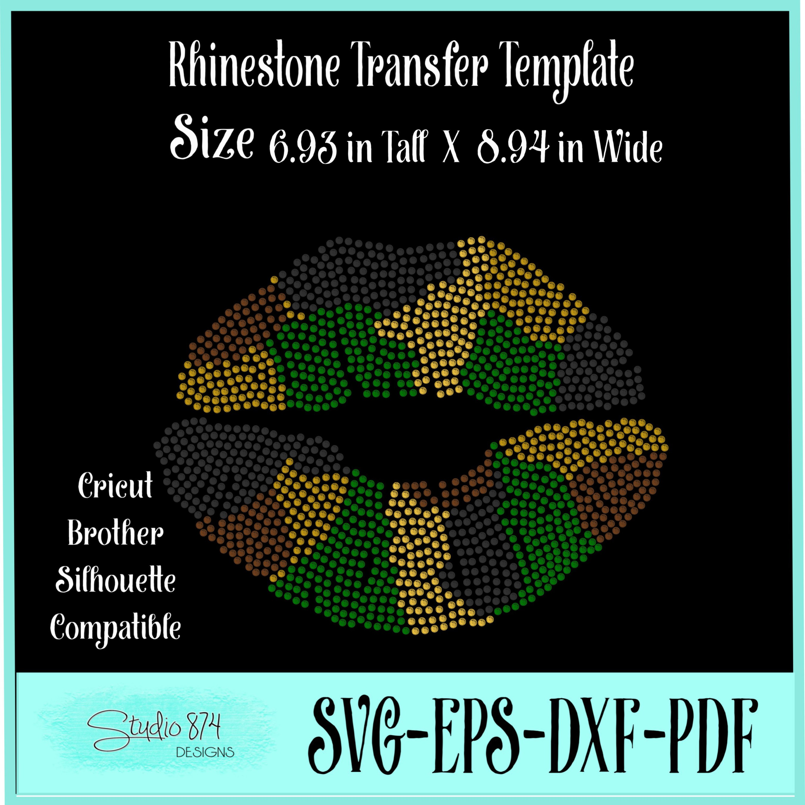 Camo Lips Rhinestone SVG Template example image 3