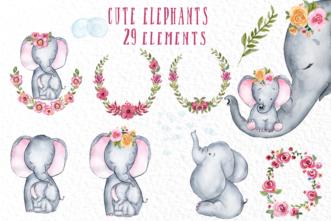 Cute Elephant clipart,WATERCOLOR ANIMALS, Baby shower clipat example image 2