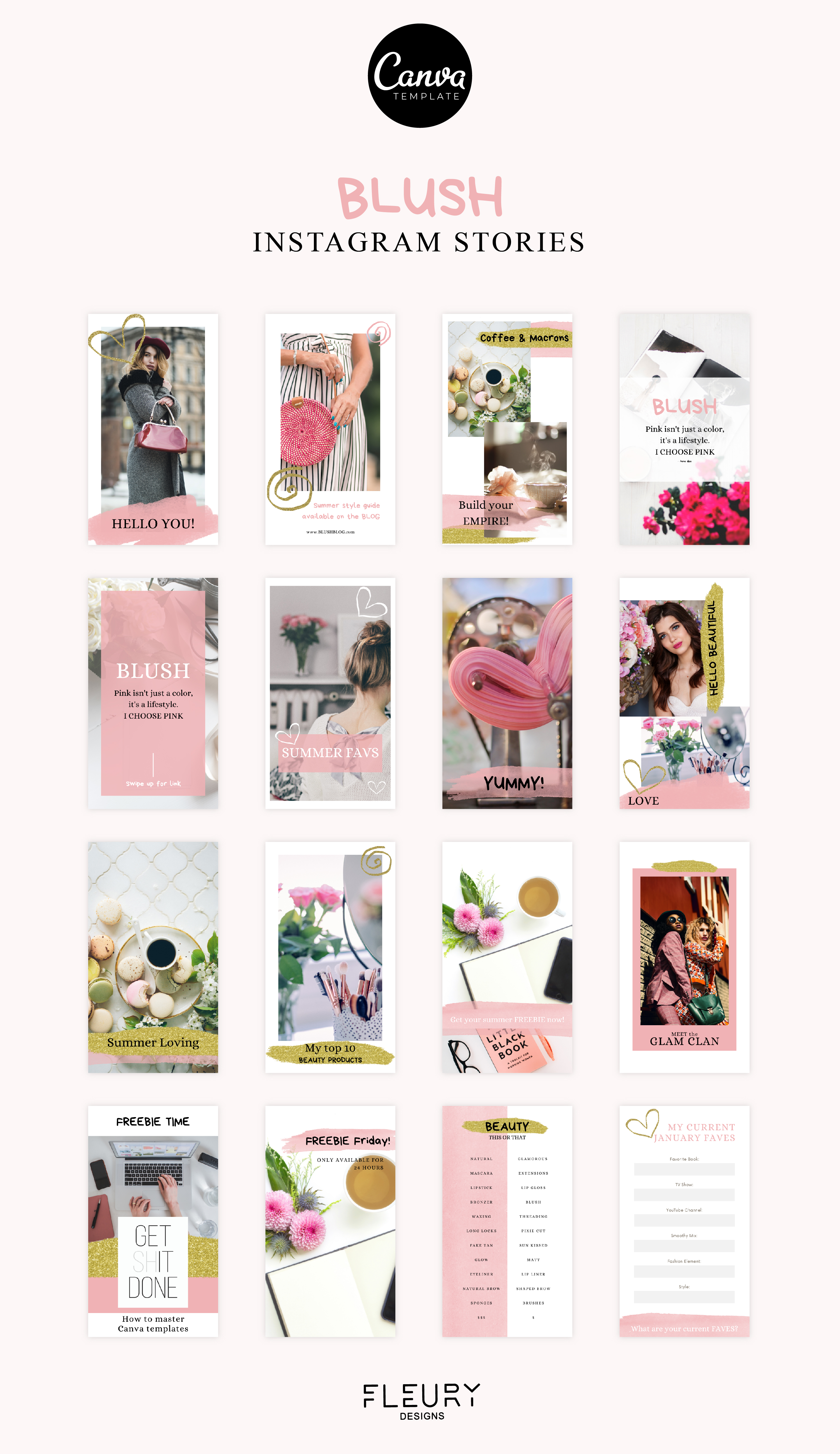 Instagram Story Canva Template - Blush example image 4