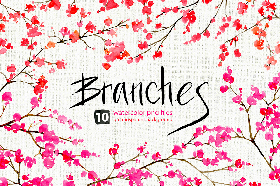 Watercolor floral branches, 10 png example image 1