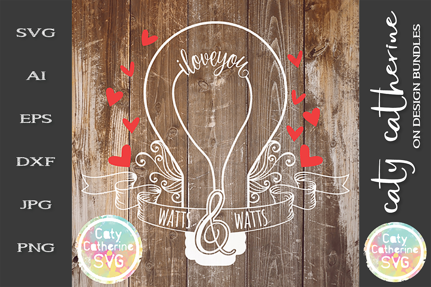 I Love You Watts And Watts Valentine SVG Light Bulb Cute example image 1