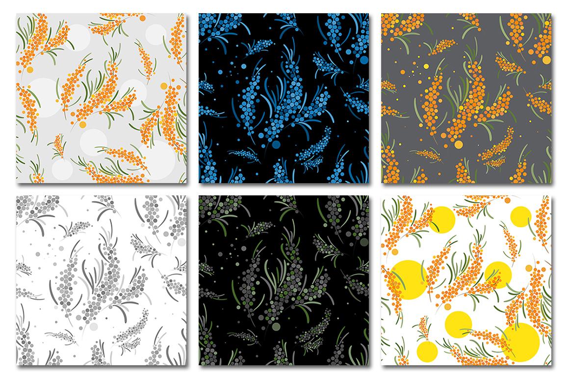 Sea buckthorn patterns set. example image 3