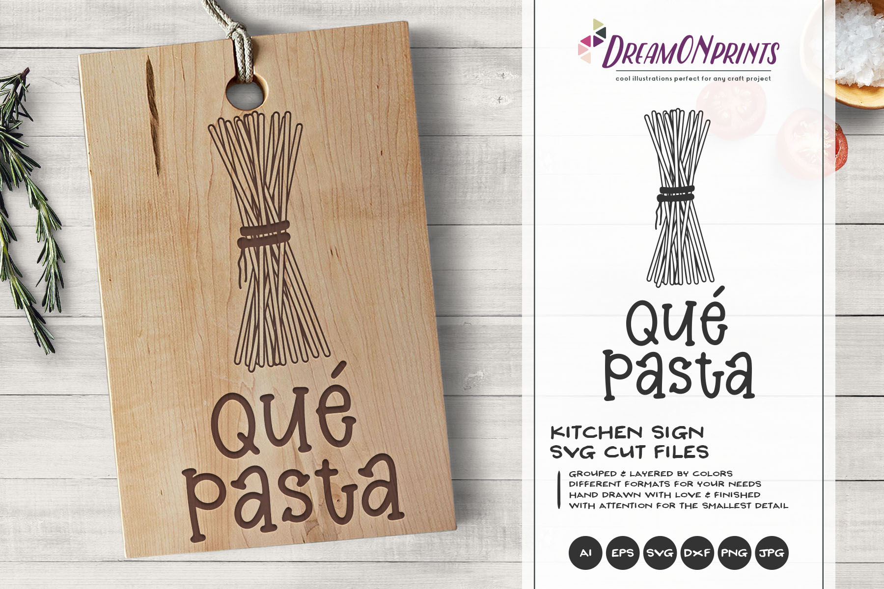 Que Pasta | Spaghetti Food Pun SVG | Funny Kitchen Sign SVG example image 1