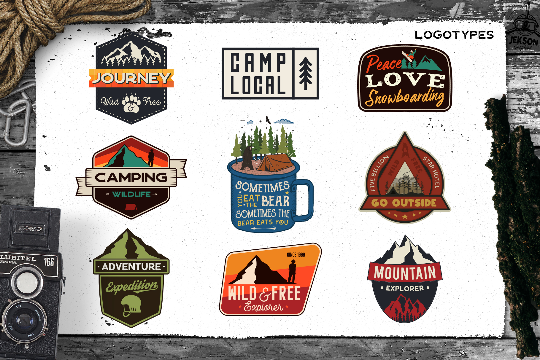 Retro Camp Badges | Adventure Patches. Part 3 | SVG Cut File example image 4