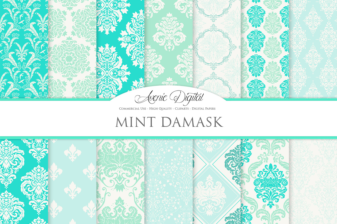 28 Mint Damask Patterns - Wedding Seamless Digital Papers Bundle example image 1
