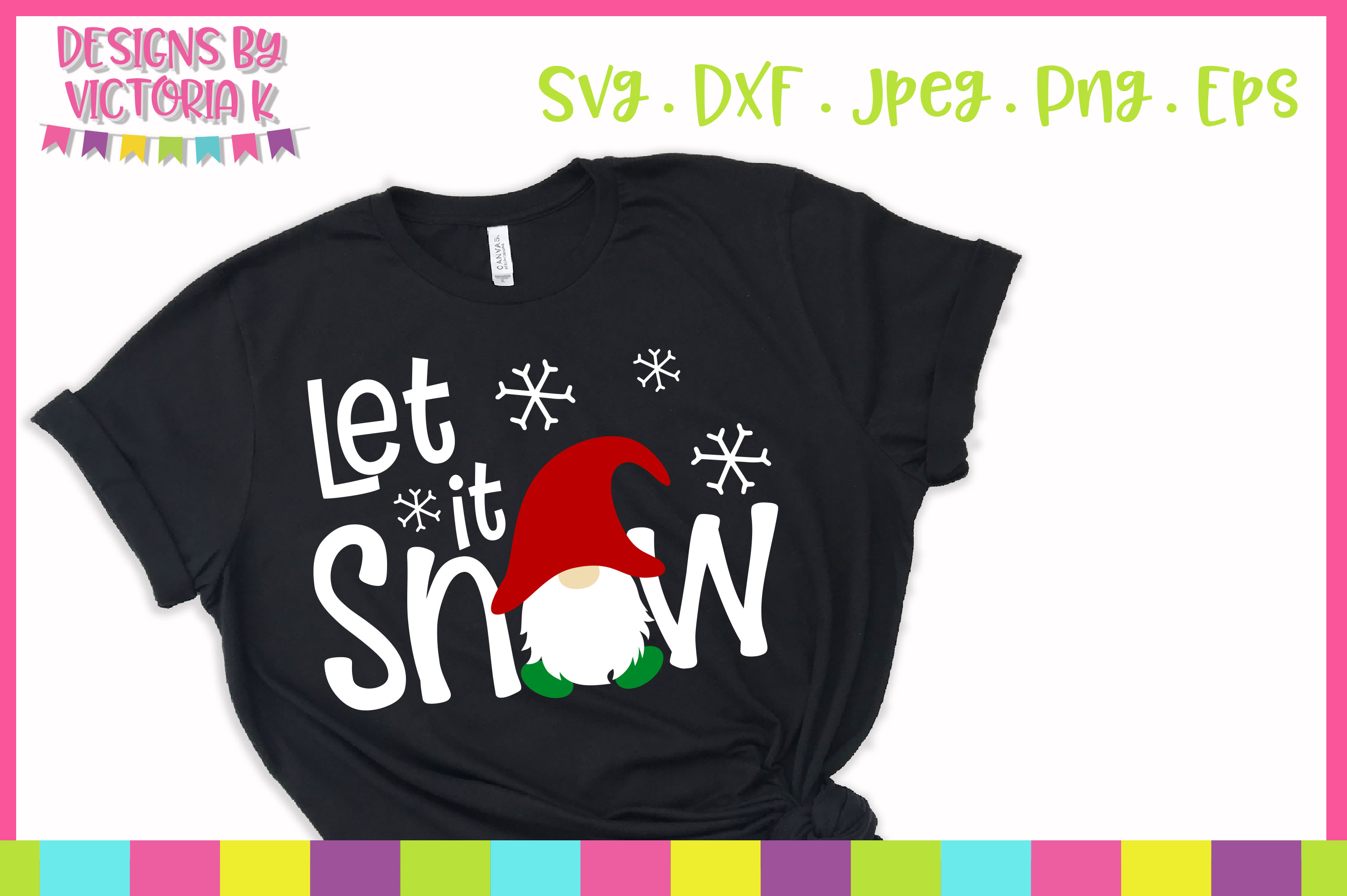 Let is snow, christmas gnome, SVG, DXF example image 1