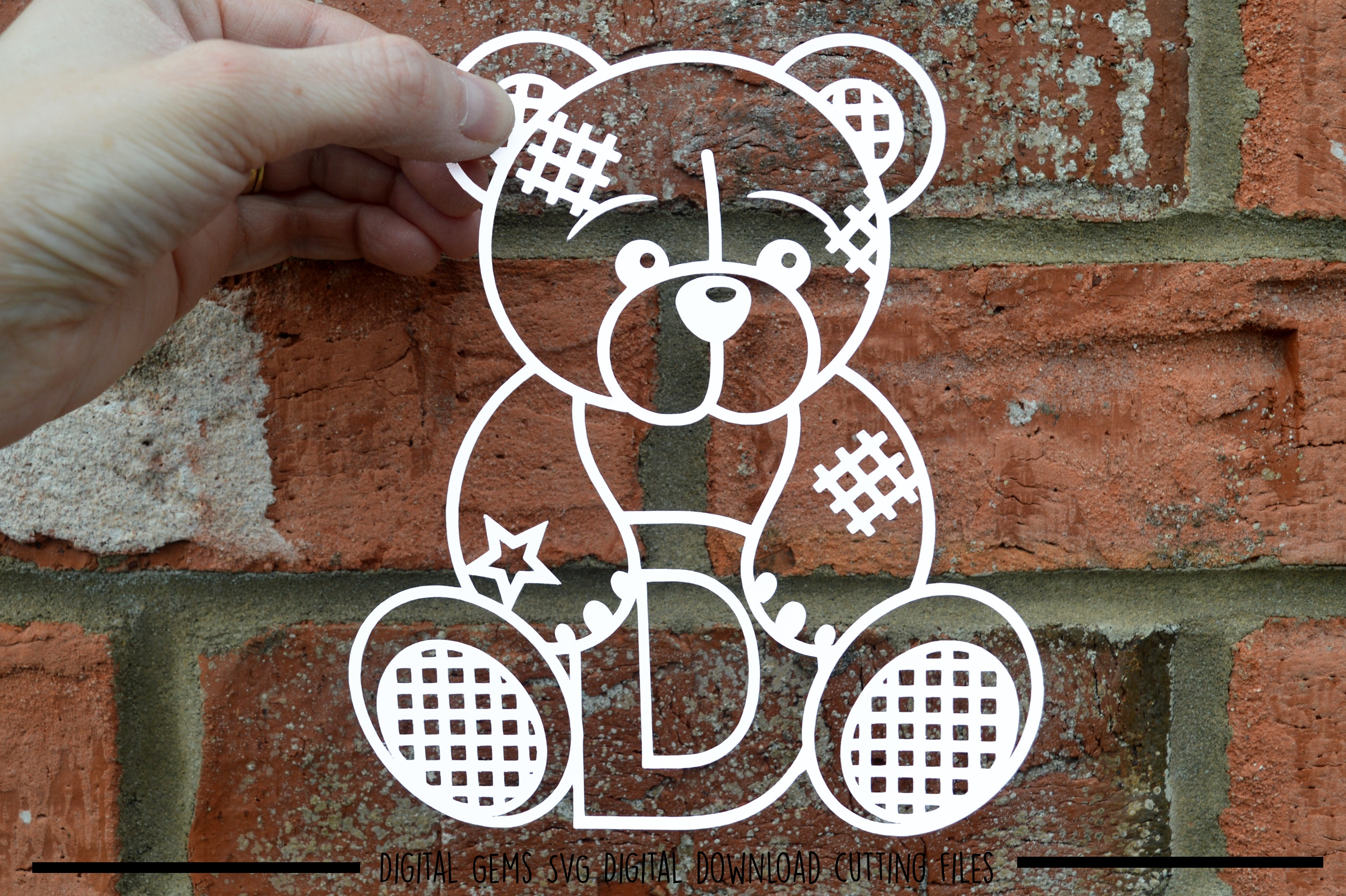 Alphabet teddy bear paper cuts SVG / DXF / EPS files example image 6
