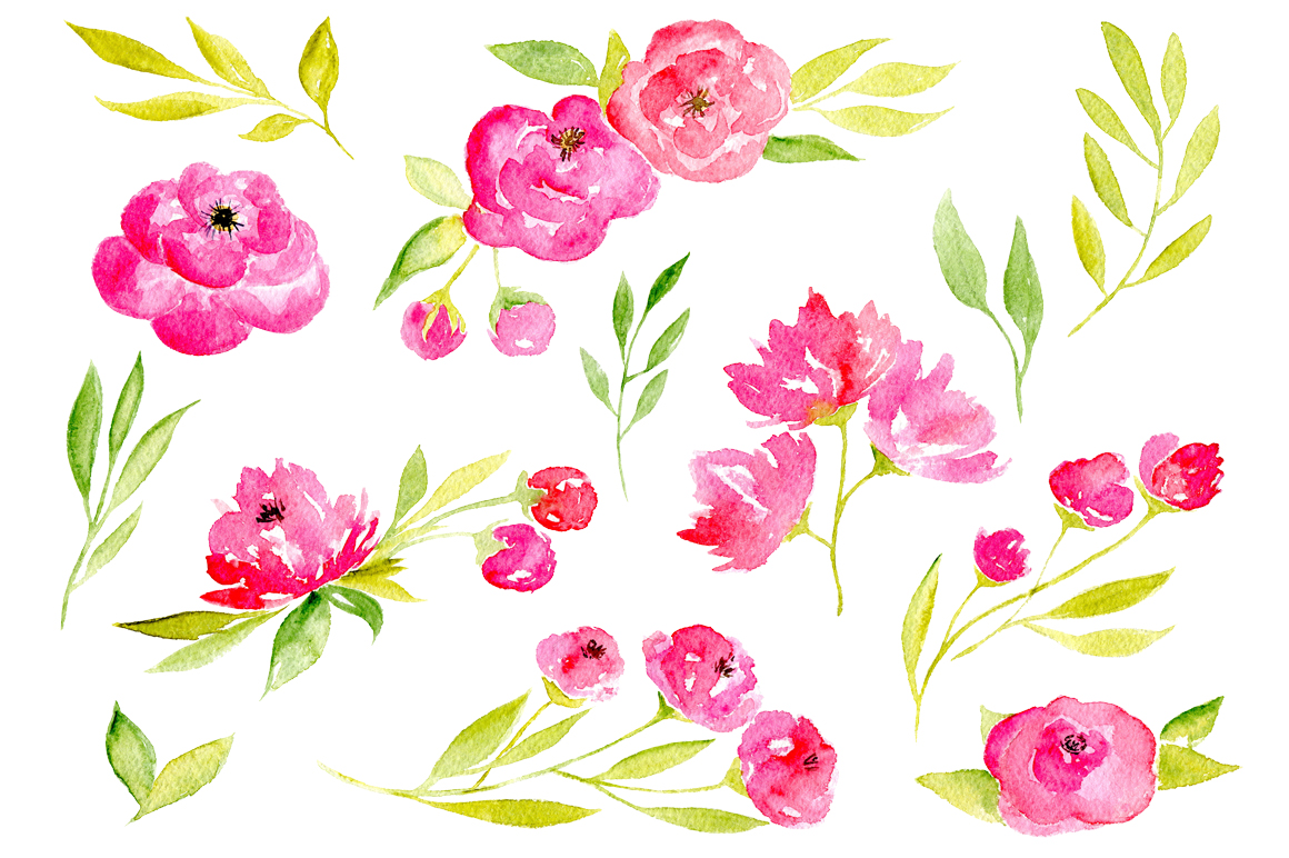45 pink watercolor flowers and green leaves example image 2