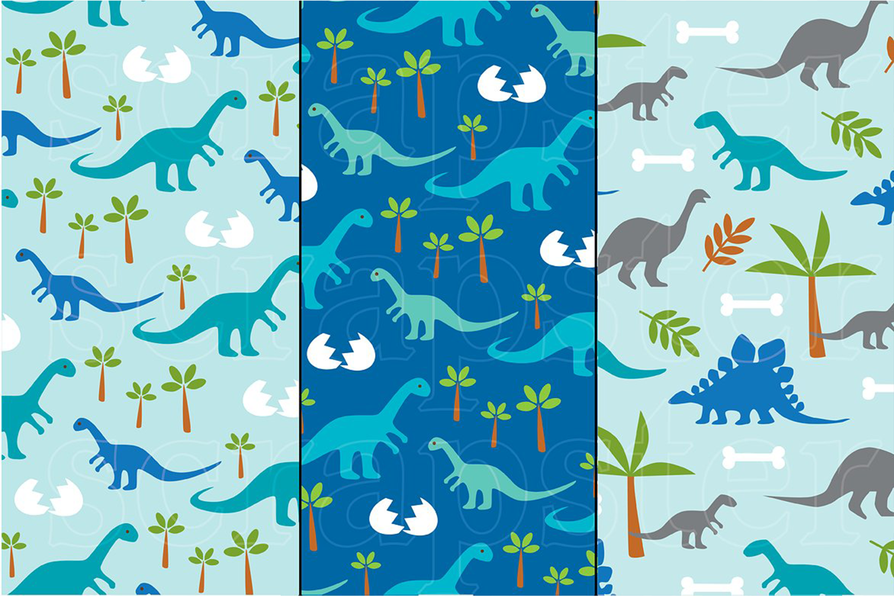 Dinosaur Patterns and Borders example image 4