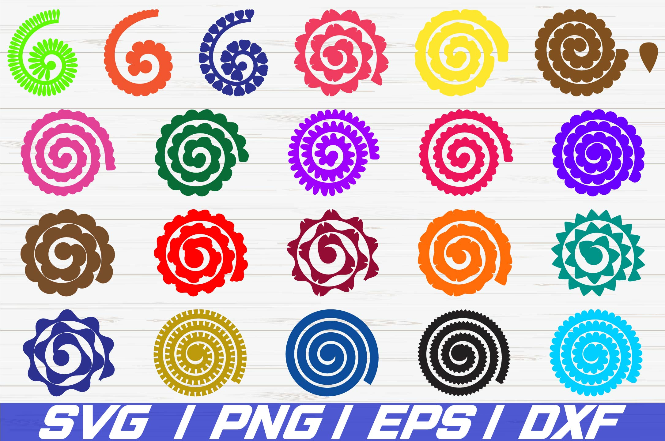 26 Rolled Paper Flowers SVG / Cut File / Flowers Template example image 1