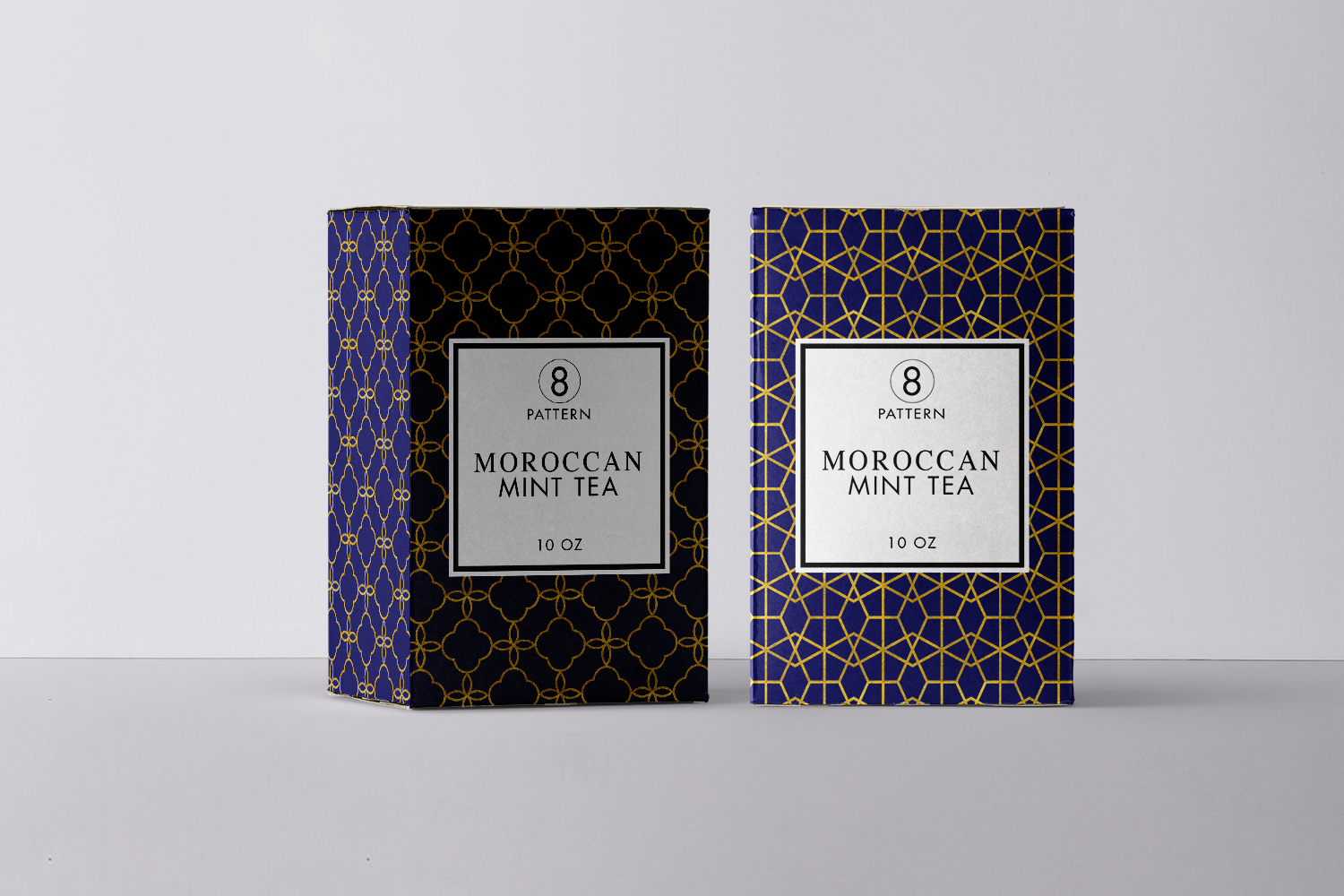 8 Seamless Moroccan Patterns - Gold & Cobalt Blue Set 2 example image 3